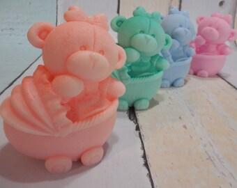 Bear Soap - Teddy Bear Soap - Baby Carriage Soap - Baby Soap - Baby Shower Favors - Soap Favors - Baptism Favors - Glycerin Soap - Kids Soap