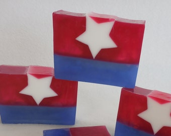 American Soap - Patriotic Soap - Red White and Blue Soap - Star Soap - Coconut Soap - Sandalwood Soap - Fourth of July Soap - Glycerin Soap