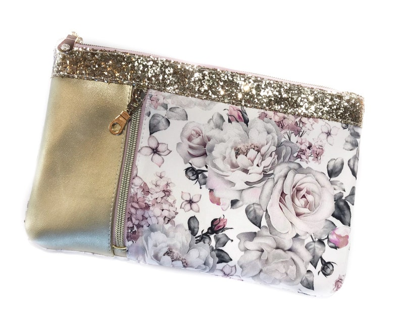 Beautiful Floral Roses Peony Zipper Clutch  Handcrafted in Canada