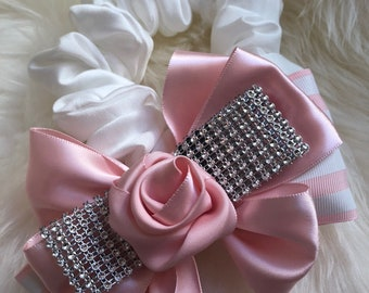 Pink Flower Scrunchie for Hair Handmade Satin Girls Woman Ponytail & Buns
