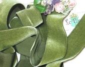 1y MELTY SILK MOSS 1.5 quot Green Leaf Swiss Vintage Velvet Ribbon Garden Taffeta Back Ribbonwork Millinery Hat Antique French Rayon Doll Dress