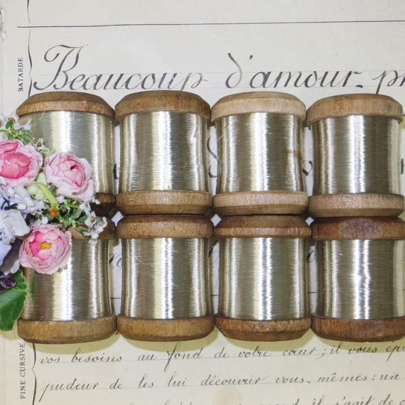 Vintage Wooden Spool Flat Chartreuse Metallic Thread French