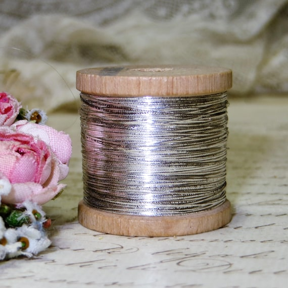 Antique SILVER FRENCH METAL Thread Spool Floss Embroidery Needlepoint Work Ribbonwork Flower Art Vintage Ribbon Trim Jewelry Applique Patch