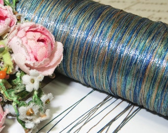 3y FRENCH BLUE OMBRE Antique Metal Thread Rust Ochre Turquoise Aqua Metallic Embroidery Floss Millinery Flower Applique Bullion Mesh Lame