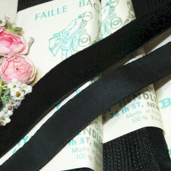 "BTY vintage Black velvet 5//8/"" rayon Silk ribbon Millinery hat doll France"
