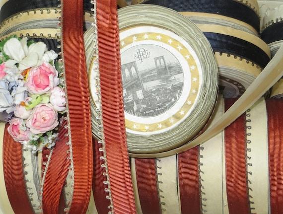 1Y des années 1920 en soie métal noir soie en Français Moire Picot ruban 5/8