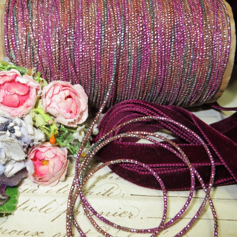 1y Rare FRENCH PINK OMBRE Fuchsia Antique Metal Thread Metallic Embroidery Floss Millinery Flower Eggplant Applique Bullion Mesh