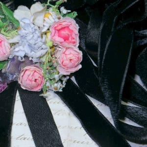 1y LUSH GERMAN 2 BLACK Vintage Antique Velvet Ribbon Trim Vestment 1920s Flapper 1930s 1940s Victorian Millinery Hat Flower Doll Dress