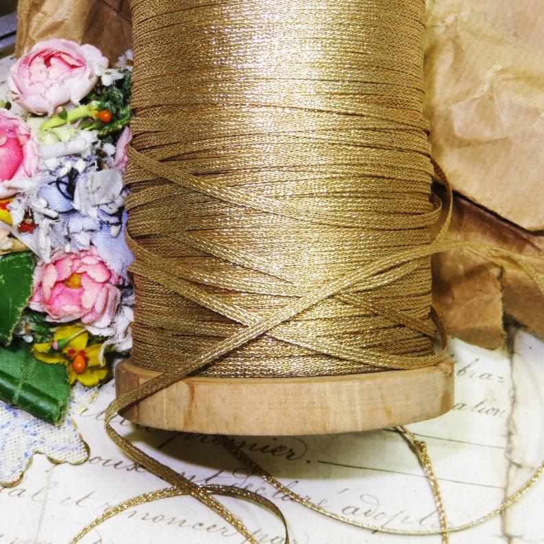 1y VTG FRENCH BROWN GOLD METALLIC VELVET RIBBON WORK ART FLOWER TRIM MILLINERY
