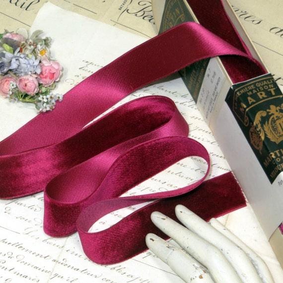 "1y 2/"" CARDINAL RED VELVET RIBBON FRENCH VESTMENT FLOWER WEDDING DOLL DRESS FABRI"