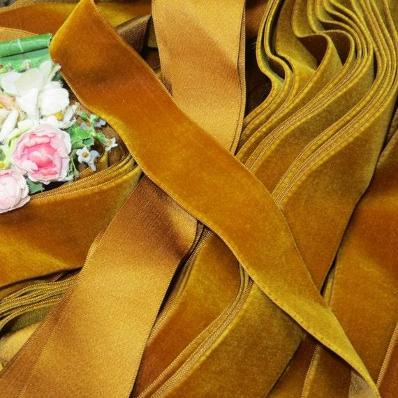 "1y 2/"" OCRA MUSTARD YELLOW VELVET RIBBON FRENCH FLOWER WEDDING DOLL DRESS FABRI"