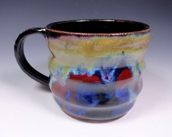 Handmade Pottery Mug Ceramic Stoneware Cascades of Color glazing from Sidhefire Arts