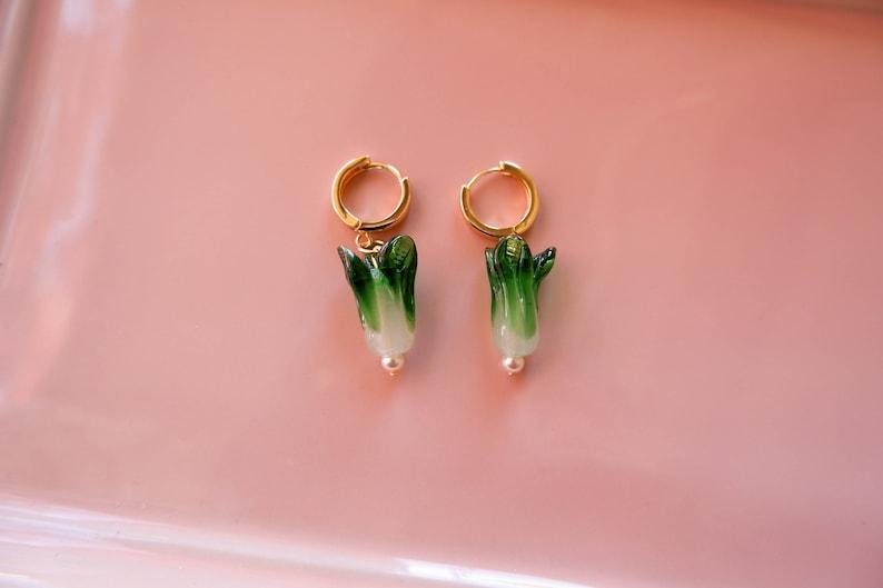 Baby Bok Choy Hoop Earrings Chinese Cabbage Accessory Bok Choy Huggie Hoops