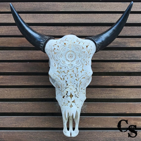 real carved cow skull head mandala design bull skull steer etsy