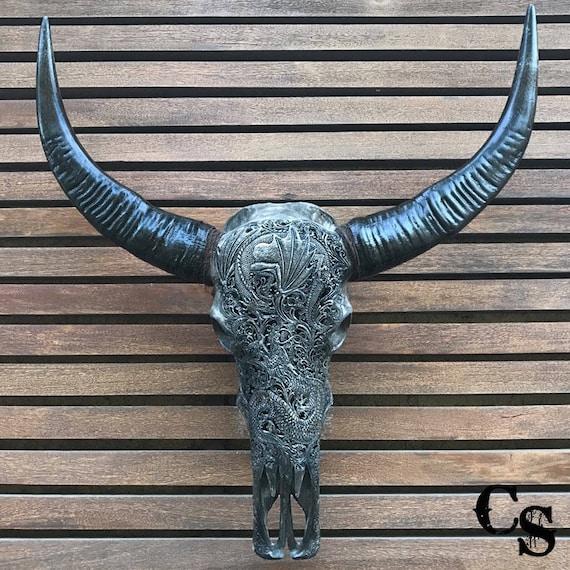 REAL HAND CARVED Lotus Pretty RAM SKULL HORNS buffalo longhorns Bull Animal