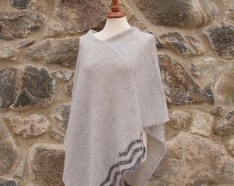 Bridal wrap Light gray knitted mohair poncho Asymmetrical wool poncho Outerwear poncho light gray lace poncho