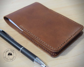 Leather Notepad Holder Brown Card Wallet with Pad and Pen Gift Box