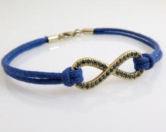Gold infinity bracelet, Black diamond bracelet, Infinity bracelet, 14k gold bracelet, Unique diamond bracelet, Woven bracelet, Love for him