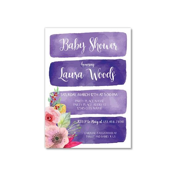 Invitación para Baby Shower en color morado Nuevo Bebé  a0811c61abb
