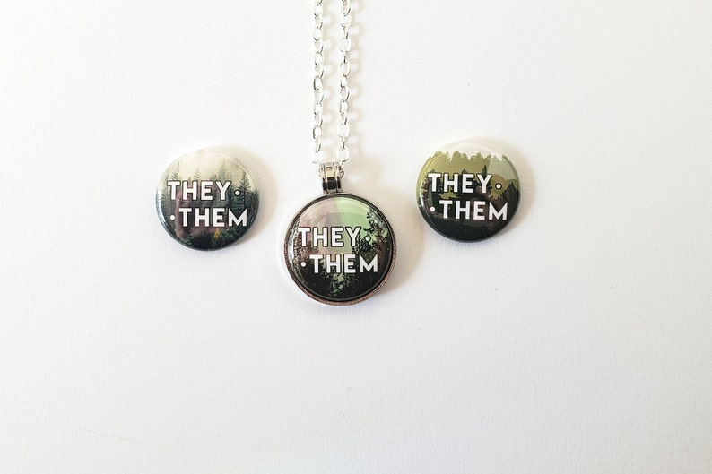 Trans Necklace Pacific Northwest Inspired Pronoun Necklace with Nature Aesthetic Nonbinary Necklace Forest Pronoun Necklace