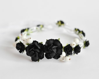 Black and Gold flower crown Black floral hair wreath Golden  f57d2bc3ddb