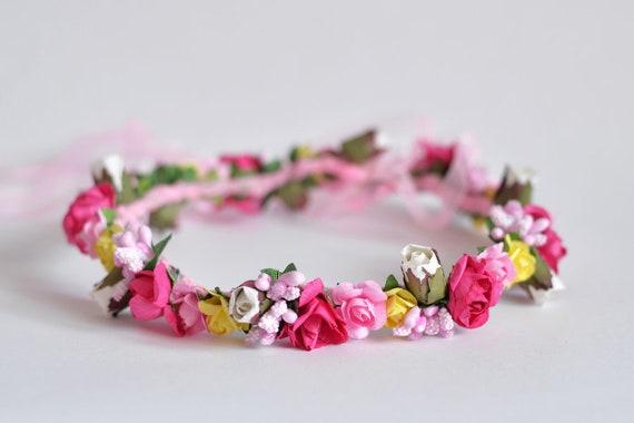 Colorful flower crown Wedding flower head piece Multicolor  1a9a2e55344
