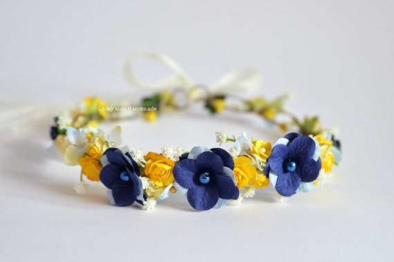 Yellow And Blue Halo Flower Crown Wedding Floral Crown Etsy