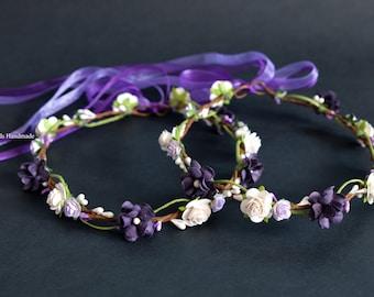 Dark Purple flower crown, Plum floral crown, Hair wreath Floral crown, Flower girl Boho crown, Plum Halo Violet floral crown Hippie Headband