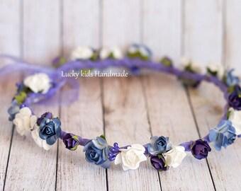 Plum flower crown, Wedding hair wreath, Wedding flower crown, Purple floral crown, plum floral headpiece, Wedding halo, Flower girl