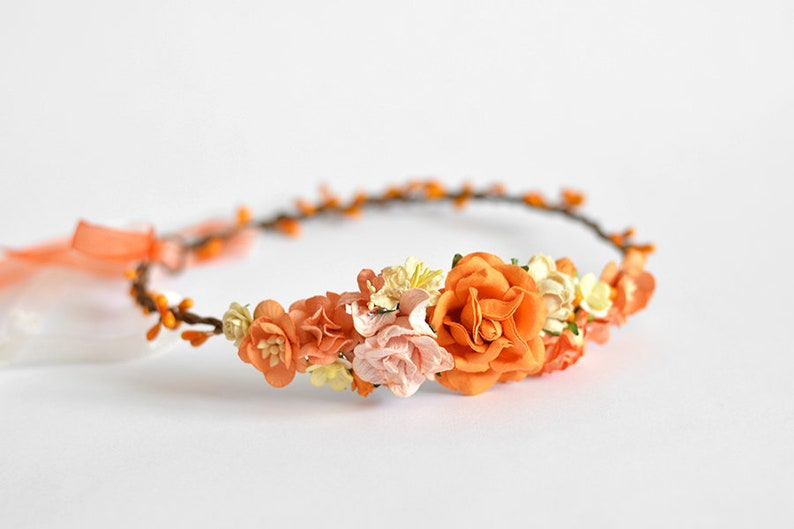 Orange flower crown Floral hair wreath Fall hair piece wedding  f7e9a4ddec9