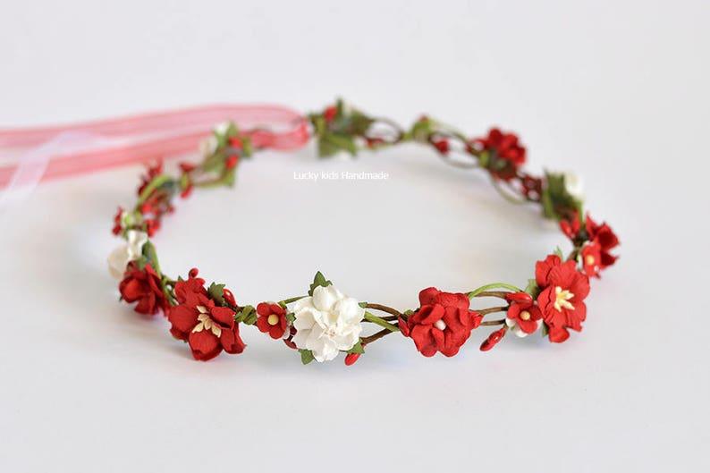 Wedding hair wreath Floral crown Photo prop Red /& White Flower Crown Flower girl halo Hair accessories Fall Flower crown Halo