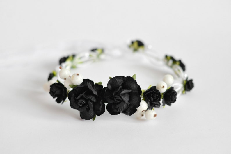 065a82a52827f Black and White flower crown Black bridal floral hair wreath