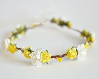 Yellow white Flower Crown, Flower Girl Wreath, Floral crown, Yellow Hair Wreath, Spring halo, Summer crown wedding, Yellow White boho crown