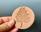Handmade terracotta sugar keeper/ essential oil diffuser- tree stamp, gift bag- pottery sugar saver, aromatherapy, teacher gift, party favor