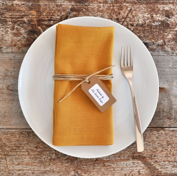 Handmade Linen Cotton Reusable Cloth Napkins, Mustard Yellow, Set of 4,  Table Napkins, Table Linen, 17x17, Mitred Corners, Made In Melbourne