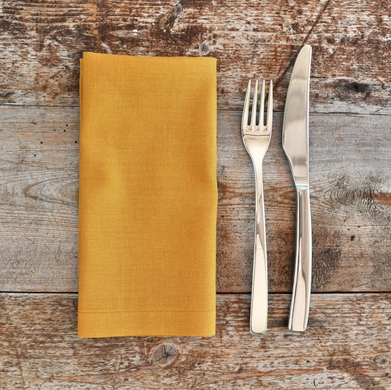 17x17 Table Linen Mitred Corners Made In Melbourne Handmade Linen Cotton Reusable Cloth Napkins Table Napkins Set of 4 Mustard Yellow