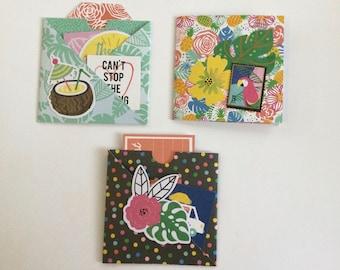 Journal pockets, cross over pocket, journal insert, journal ephemera, pocket tags, journaling, snail mail, scrapbooking, craft, set of 3