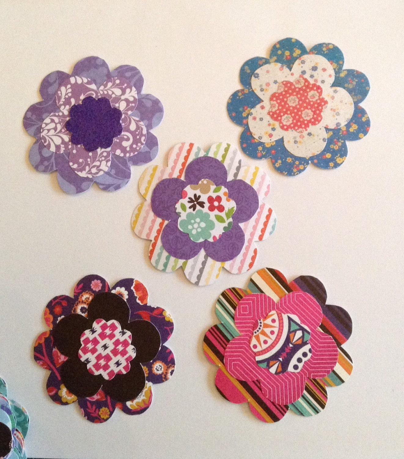 5 Handmade Paper Flowers Colourful Flower Cut Outs Etsy