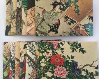 Traditional Japanese envelopes, Japanese garden prints stationery, snail mail, handmade envelopes, set of 12, patterned, spring