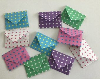Spotty mini envelopes - tooth fairy letter, party favour, scrapbooking, love note, baby shower, lunch box note, wedding  favour, set of 10