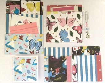Journal pocket bundle, Alice Library pocket, junk journal insert, journal ephemera, pocket tags, journaling, snail mail, bright spring theme