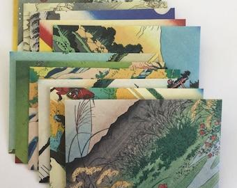 Traditional Japanese envelopes, japanese stationery, snail mail  japanese woodblock prints, handmade envelopes, set of 12, patterned, spring