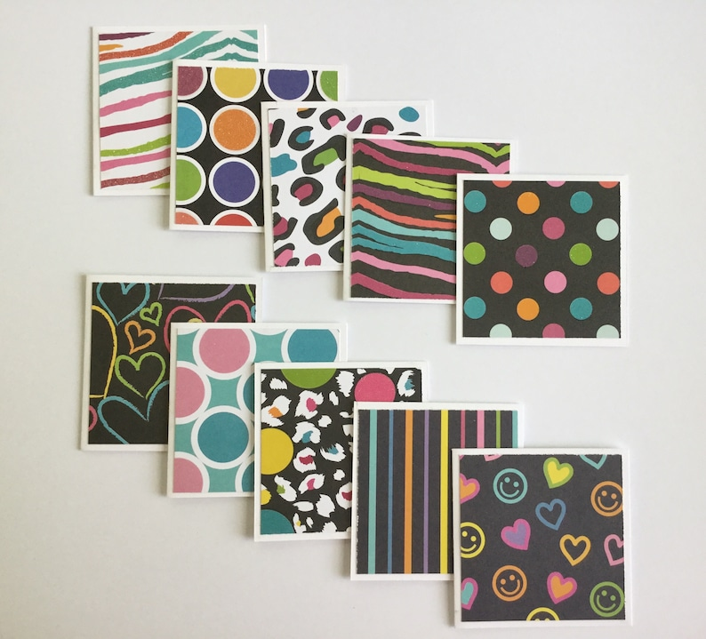 set of 10 thank you cards Mini cards any occasion rainbow gift cards funky greeting cards note cards