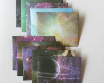 Space envelopes, small cosmic planet stationery, astronomy snail mail, galaxy happy mail, handmade small envelopes, set of 10