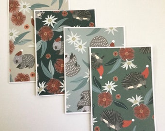 Australian Christmas wildlife cards, gift cards, thank you cards, greeting cards, any occasion, birthday cards, flora and fauna note cards
