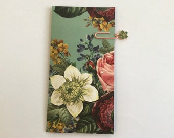 Mini flip book, floral, journaling supplies, snail mail, happy mail, penpal, ready to ship