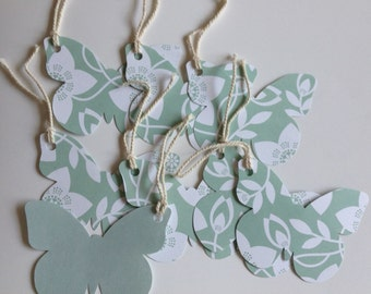 Butterfly gift tags, baby shower tags, double sided green, blank tags, birthday tags, girl tags, party favor tags, wedding tags, set of 6