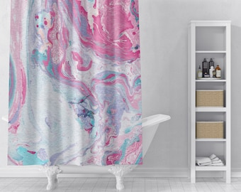 Pink Marble Shower Curtain Bathroom Decor Home Modern