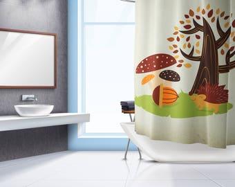 Hedgehog Shower Curtain - Shower Curtain - Shower Curtain Design - Bath Curtain - Bathroom Decor - Bathroom Curtain - Nursery Decor - Kids