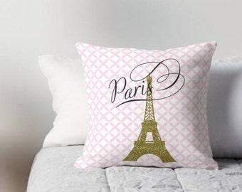 Nursery Pillow , Eiffel Tower Pillow , Kids Room Decor , Girls Room , Throw Pillow , Decorative children's pillow ,  kids Pillow ,